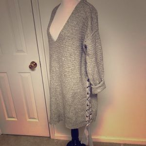 Free People Grey Sweater with Ribbon Detail SZ SM
